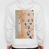People On Algarve Beach In Portugal, Drone Photography, Aerial Photo, Ocean Wall Art Print Graphic Hoodie by Art My House - Unisex Zip White - MEDIUM - Back Print - Zip