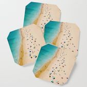 People On Algarve Beach In Portugal, Drone Photography, Aerial Photo, Ocean Wall Art Print Drink Coaster by Art My House - Set of 4