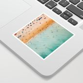 People On Algarve Beach In Portugal, Drone Photography, Aerial Photo, Ocean Wall Art Print Sticker by radub85