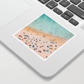 People On Algarve Beach In Portugal, Drone Photography, Aerial Photo, Ocean Wall Art Print Sticker by radub85