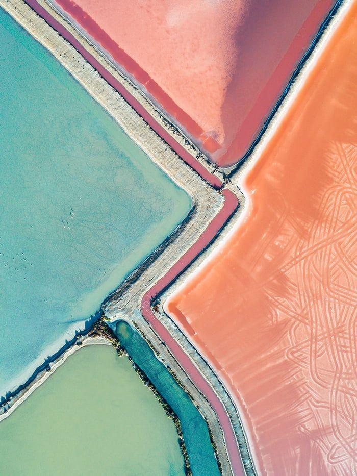 Vivid colors of the Australian salt evaporation ponds.