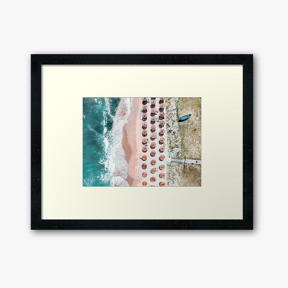 People On Beach, Drone Photography, Aerial Sea Photography, Ocean Wall Art Print, Framed Art Print, Ocean Waves | Framed Art Print