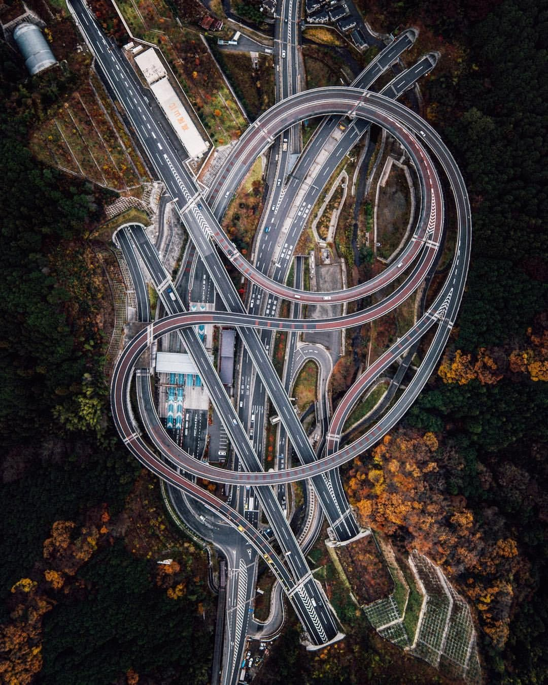 Roadway interchange outside of Sagamihara, Japan by Rob Antil (drone photo)