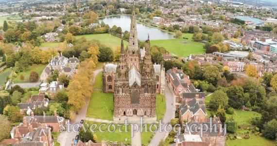 Lichfield Cathedral from Anafi Drone A4A3 Art Deco Unframed   Etsy