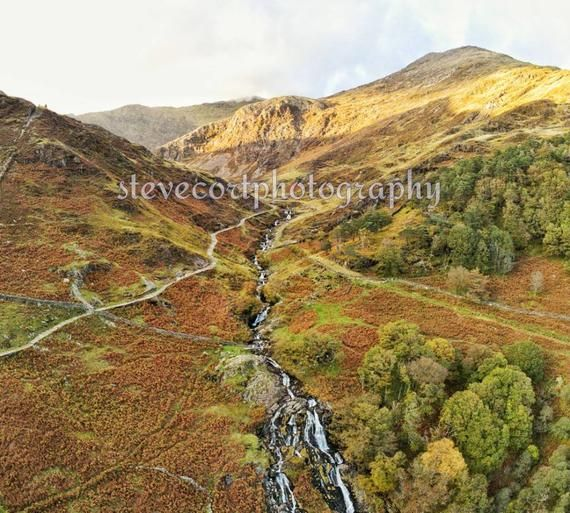 Snowdon Watkin Path from Anafi Drone A4+A3 Art Deco Unframed print stevecortphotography
