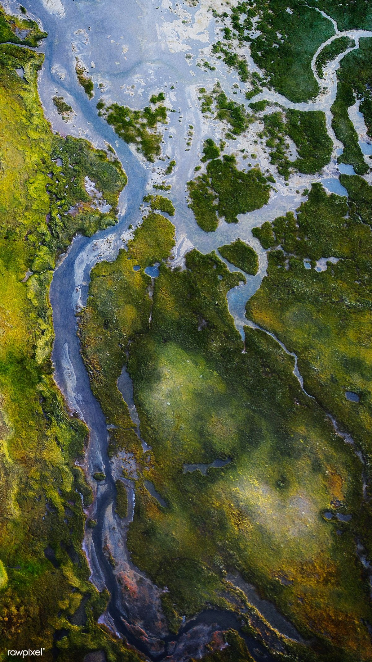 Download premium image of River structure in Iceland drone shot 1234792