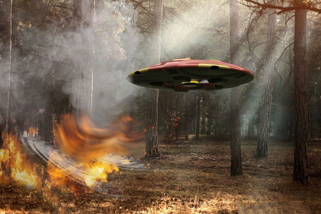 Drone Shooting Fire Into Forest