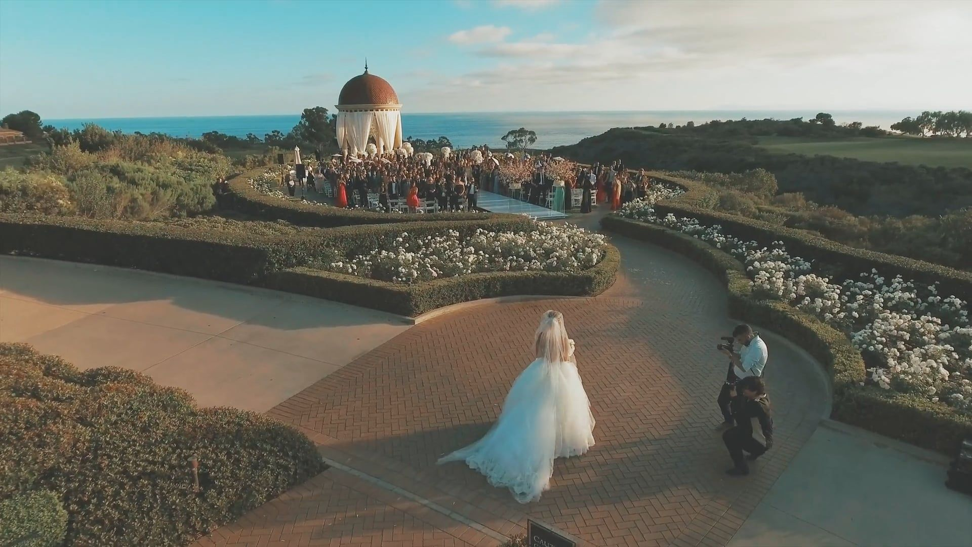 Drone shot in a wedding ceremony