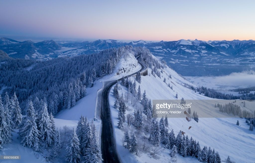 Aerial view of Rossfeld Panorama Road between Austria and Germany