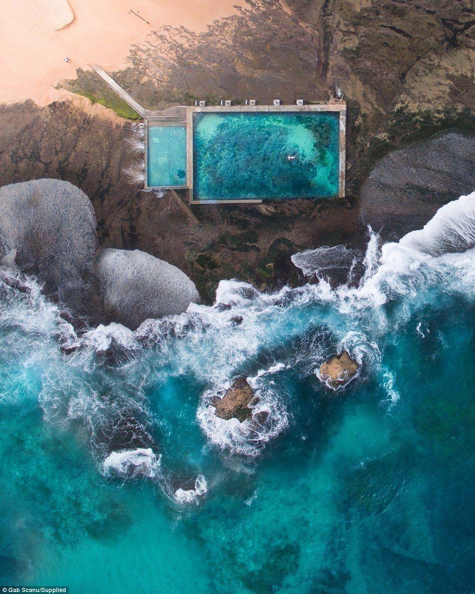Drone captures piercing-blue seas of Australia's coastline