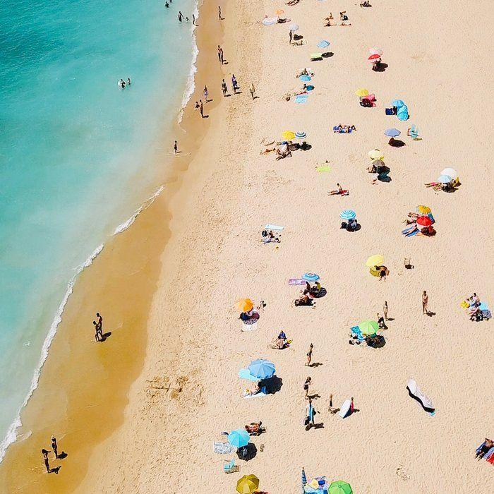 People On Algarve Beach In Portugal, Drone Photography, Aerial Photo, Ocean Wall Art Print Coffee Mug by Art My House - 11 oz