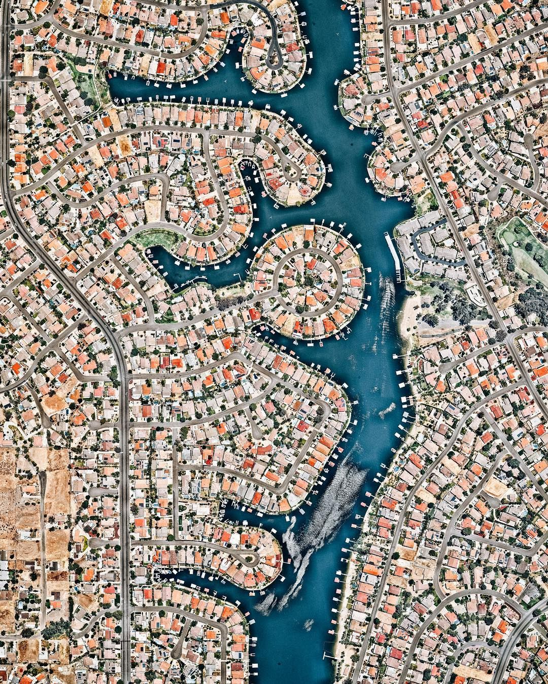 "Daily Overview on Instagram: ""Canyon Lake is a city and gated community in southern California, with a population of slightly more than 11,000 people. Constructed as a…"""