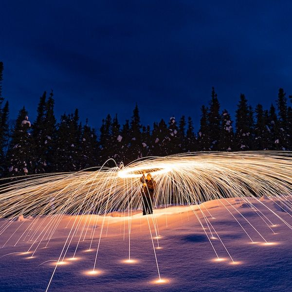 Drone Captures Spark-tacular Photos of Steel Wool Lighting Up the Night Sky