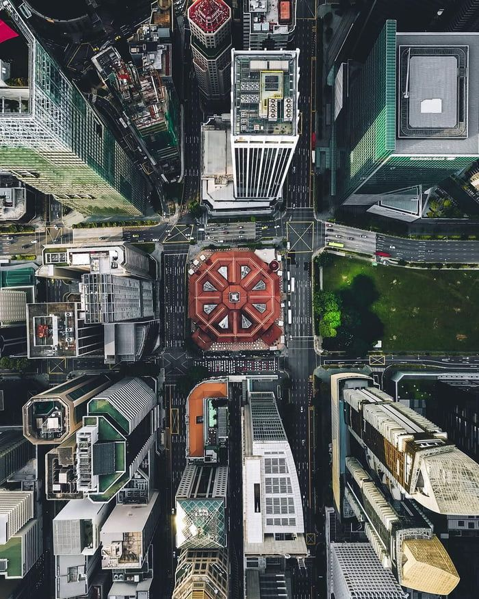 Drone photography of downtown Singapore